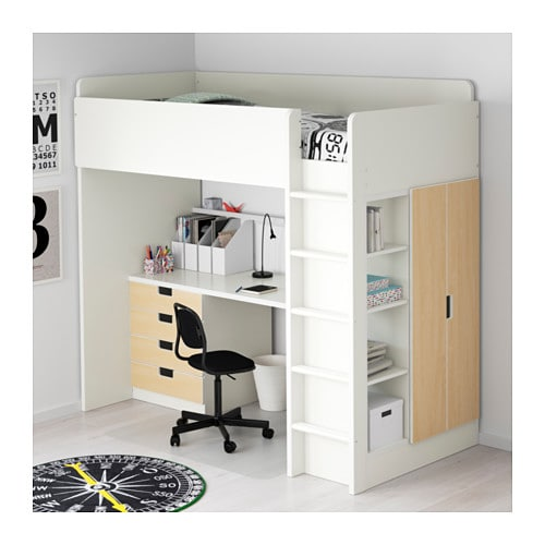 stuva loft bed combo w 4 drawers 2 doors white birch 207x99x193 cm ikea. Black Bedroom Furniture Sets. Home Design Ideas