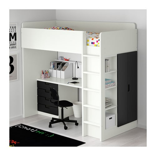 stuva loft bed combo w 4 drawers 2 doors white black 207x99x193 cm ikea. Black Bedroom Furniture Sets. Home Design Ideas