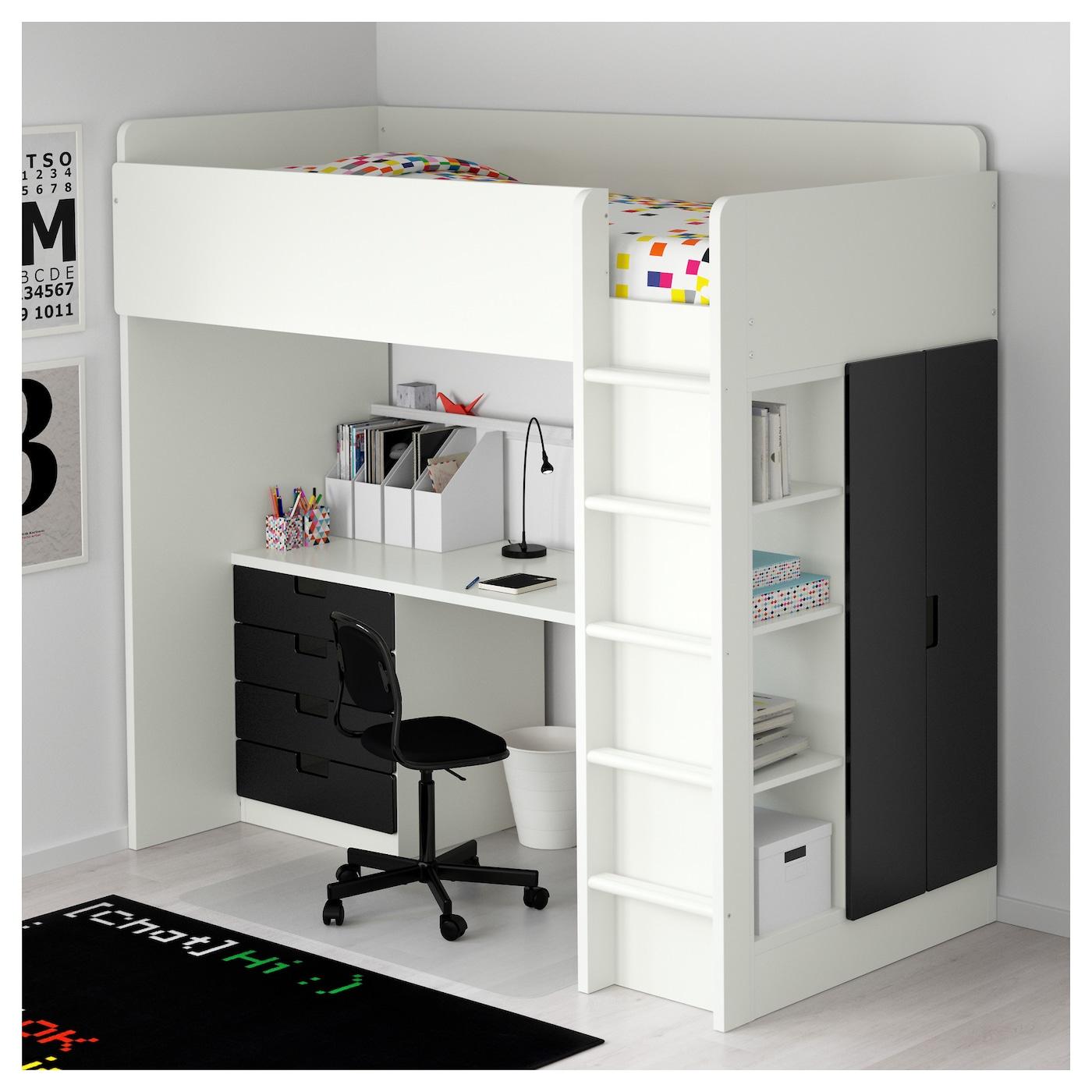 Stuva Loft Bed Combo W 4 Drawers 2 Doors White Black