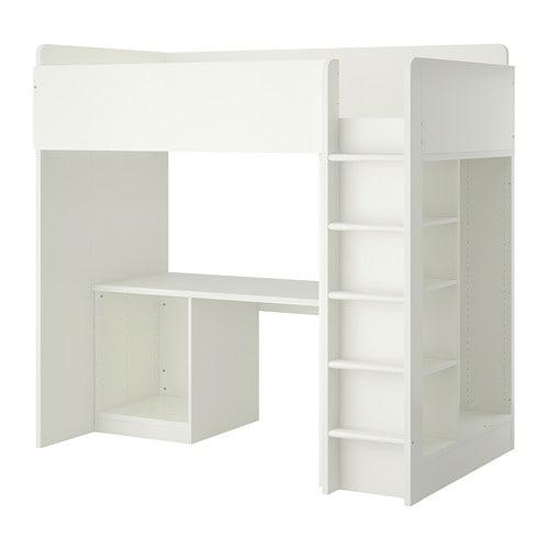 STUVALoft bed frame w desk and storage, white