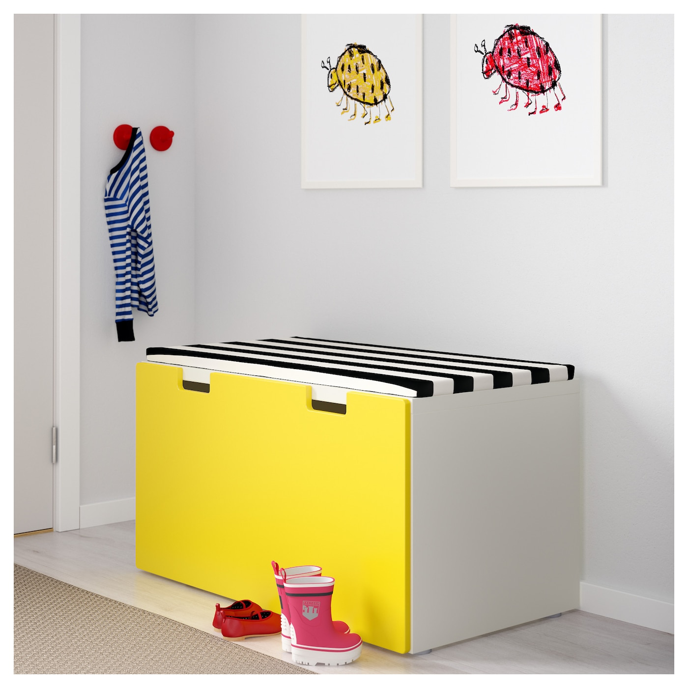 Stuva Storage Bench White Yellow 90x50x50 Cm Ikea