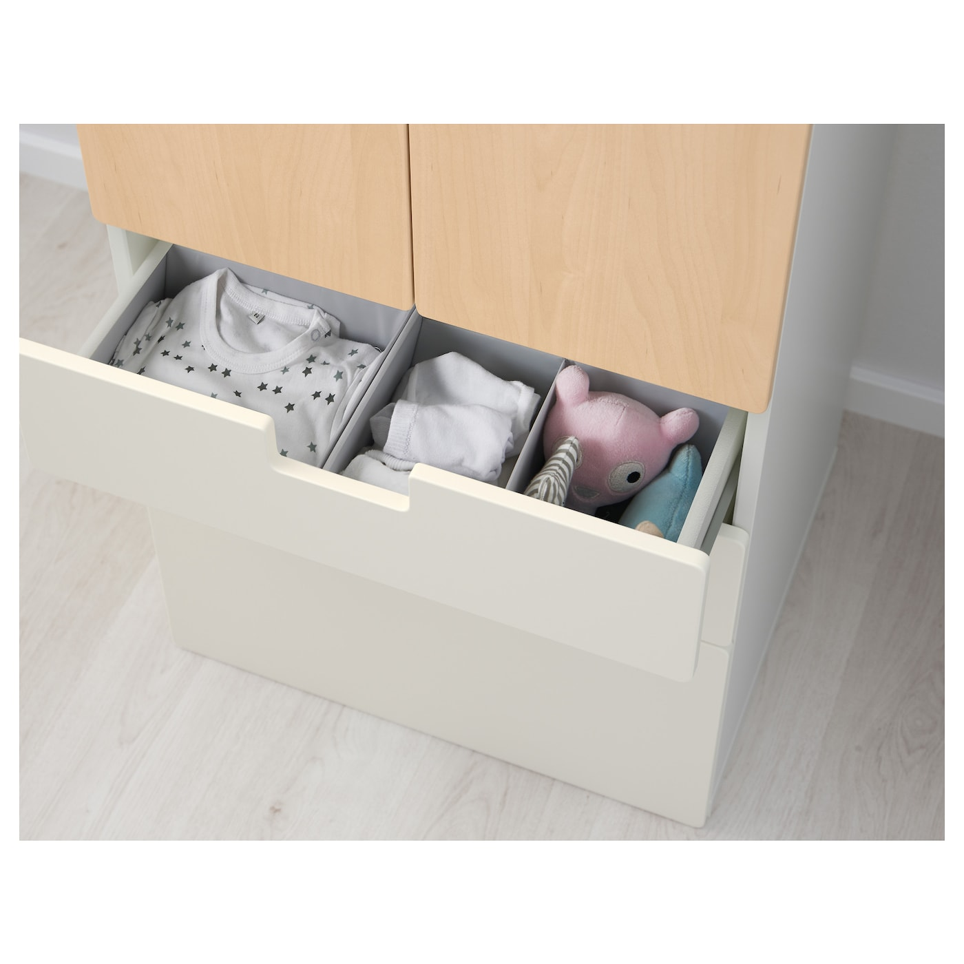 IKEA STUVA storage combination w doors/drawers Deep enough to hold standard-sized adult hangers.