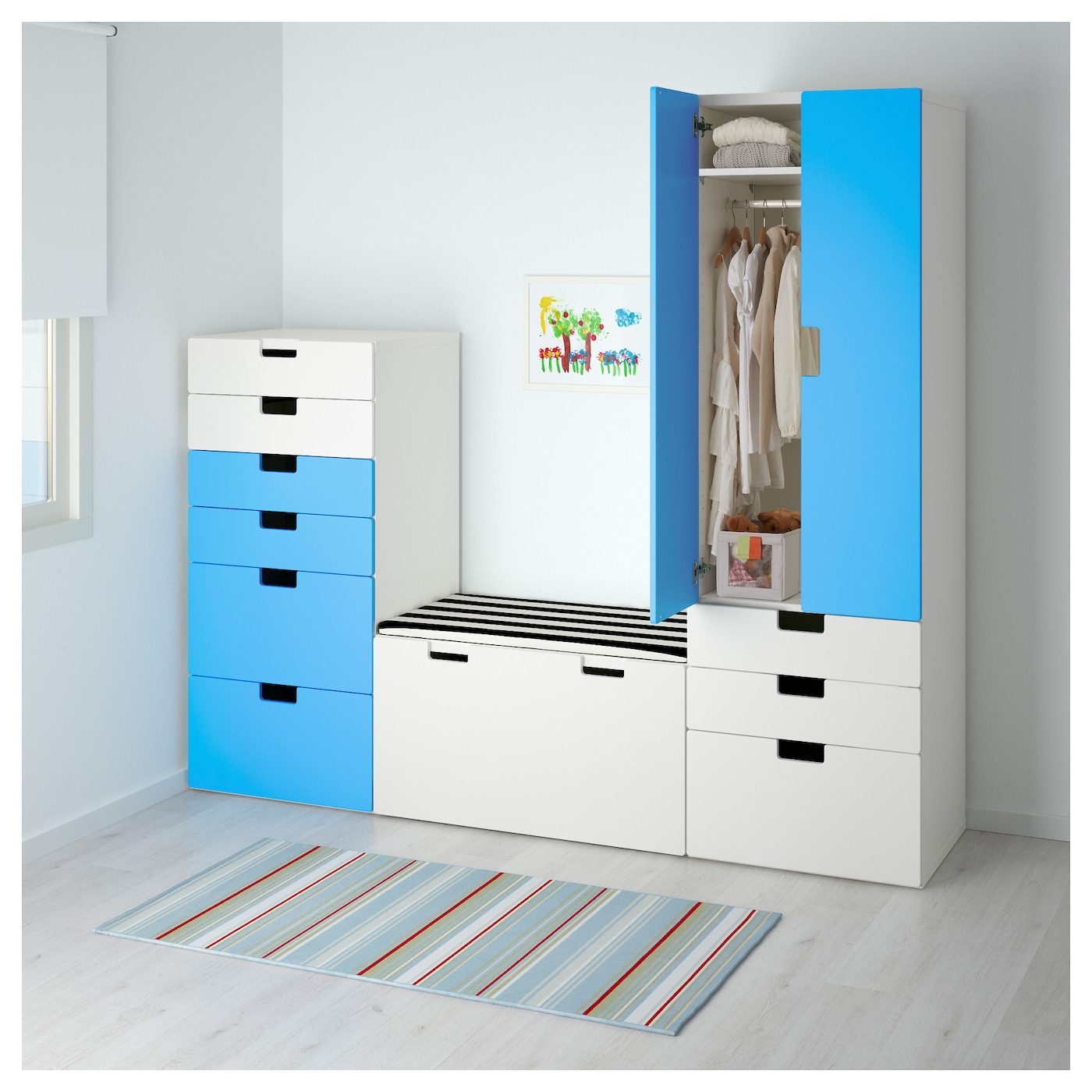 stuva storage combination white blue 210x50x192 cm ikea