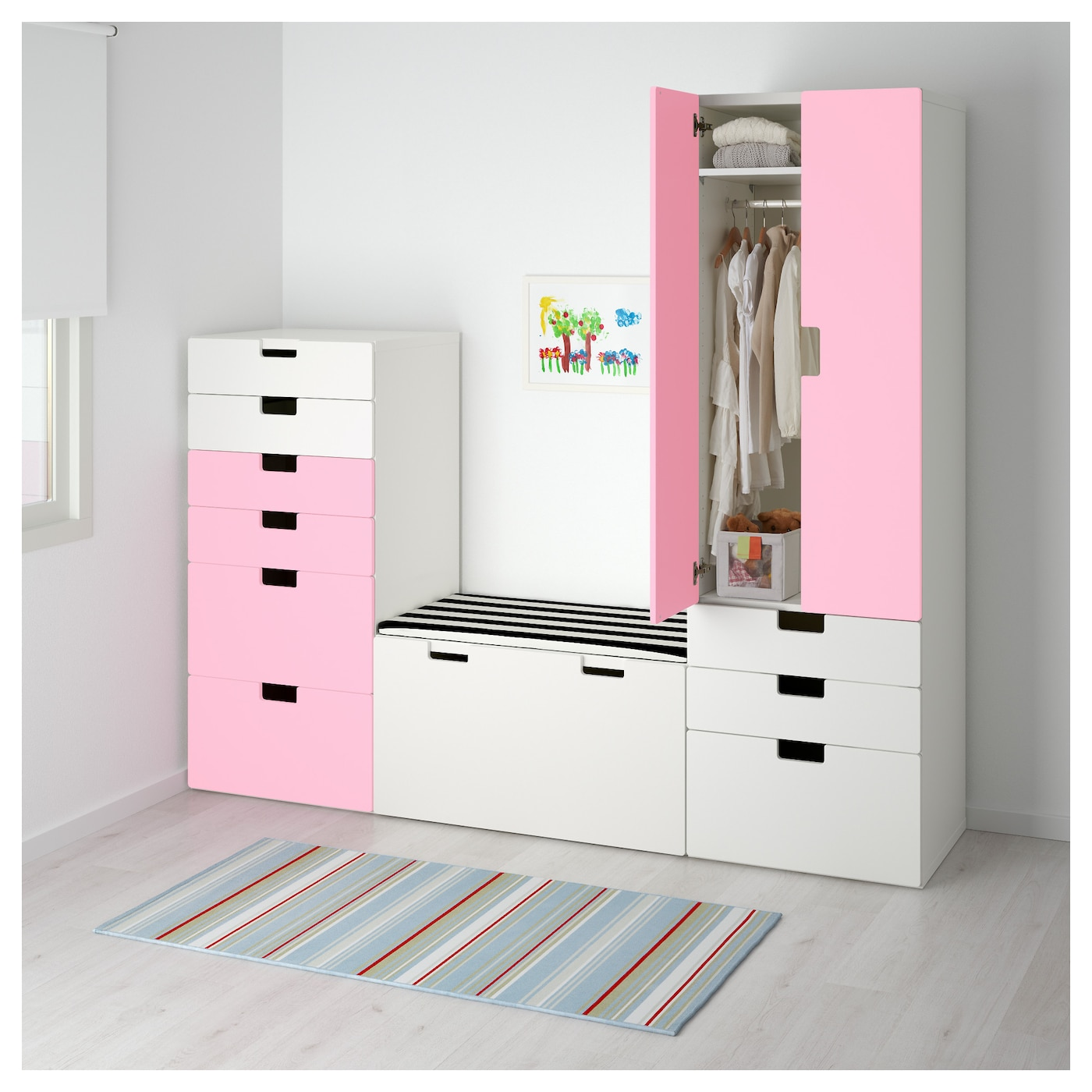 stuva storage combination white pink 210x50x192 cm ikea. Black Bedroom Furniture Sets. Home Design Ideas