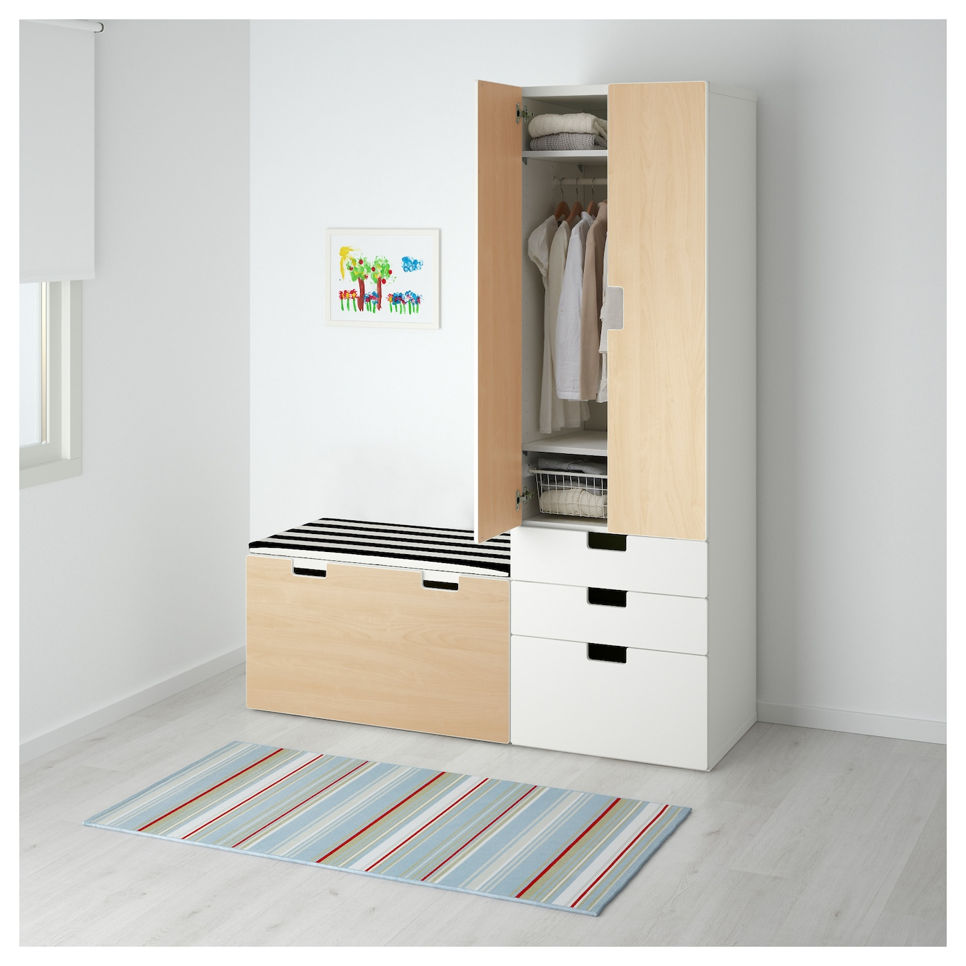 stuva storage combination with bench white birch 150x50x192 cm ikea. Black Bedroom Furniture Sets. Home Design Ideas