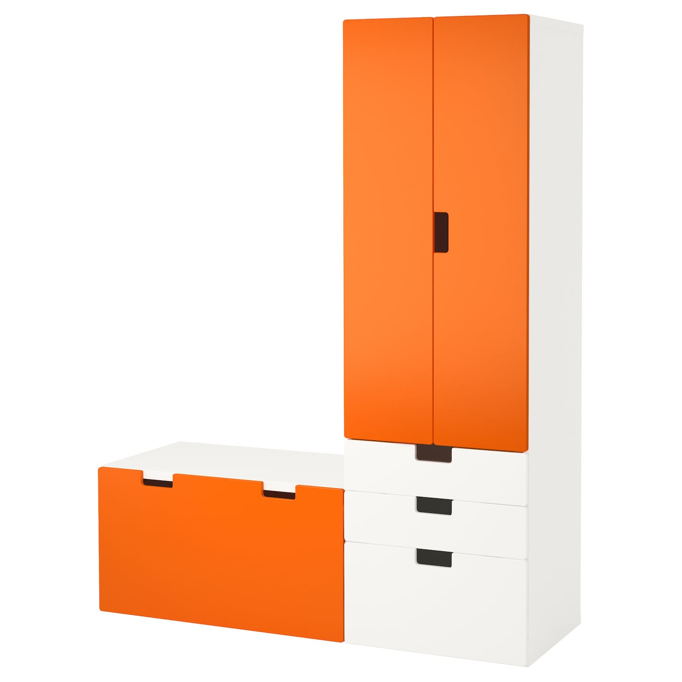STUVA Storage combination with bench Whiteorange