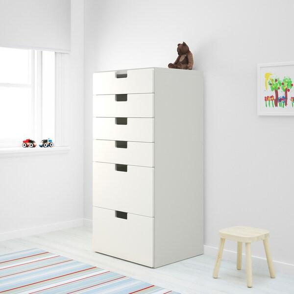 STUVA / STUVA MÅLAD chest of 6 drawers white/white 60 cm 50 cm 128 cm