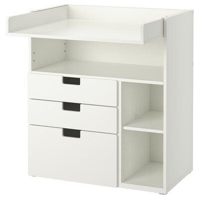 STUVA / STUVA MÅLAD Changing table with drawers, white/white, 90x79x102 cm