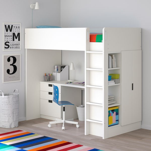 Stuva Stuva Malad White White Loft Bed Combo W 3 Drawers 2
