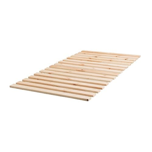 SULTAN LADE Slatted bed base IKEA Solid wood slats offer firm posture support.