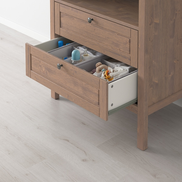 SUNDVIK Changing table/chest of drawers, grey-brown