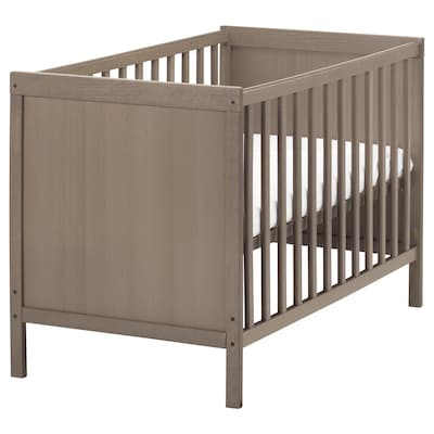 SUNDVIK Cot, grey-brown, 70x140 cm
