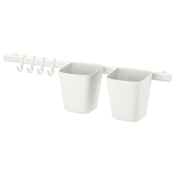 SUNNERSTA Rail with 4 hooks and 2 containers, white