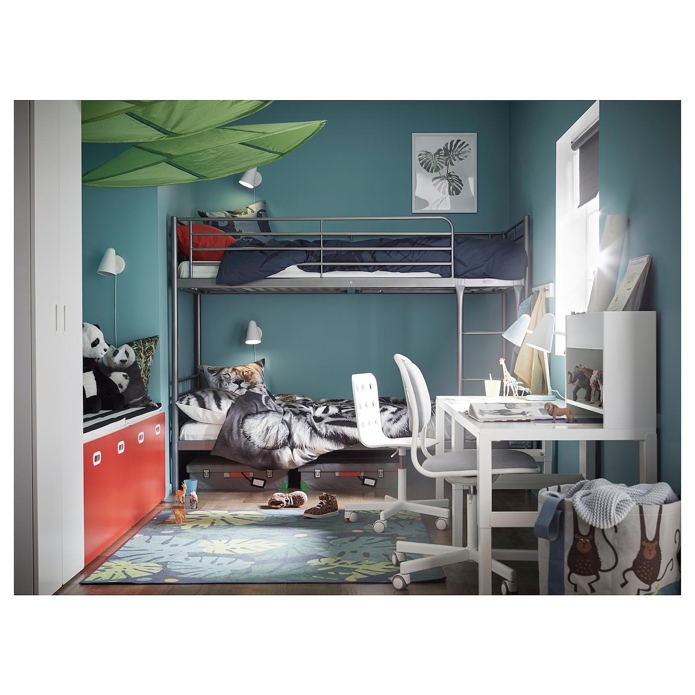 Svarta Bunk Bed Frame Silver Colour 90 X 200 Cm Ikea