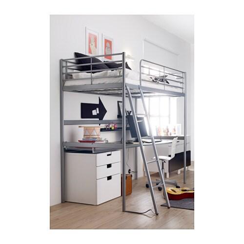 SVÄRTA Loft bed frame Silver colour 90x200 cm IKEA