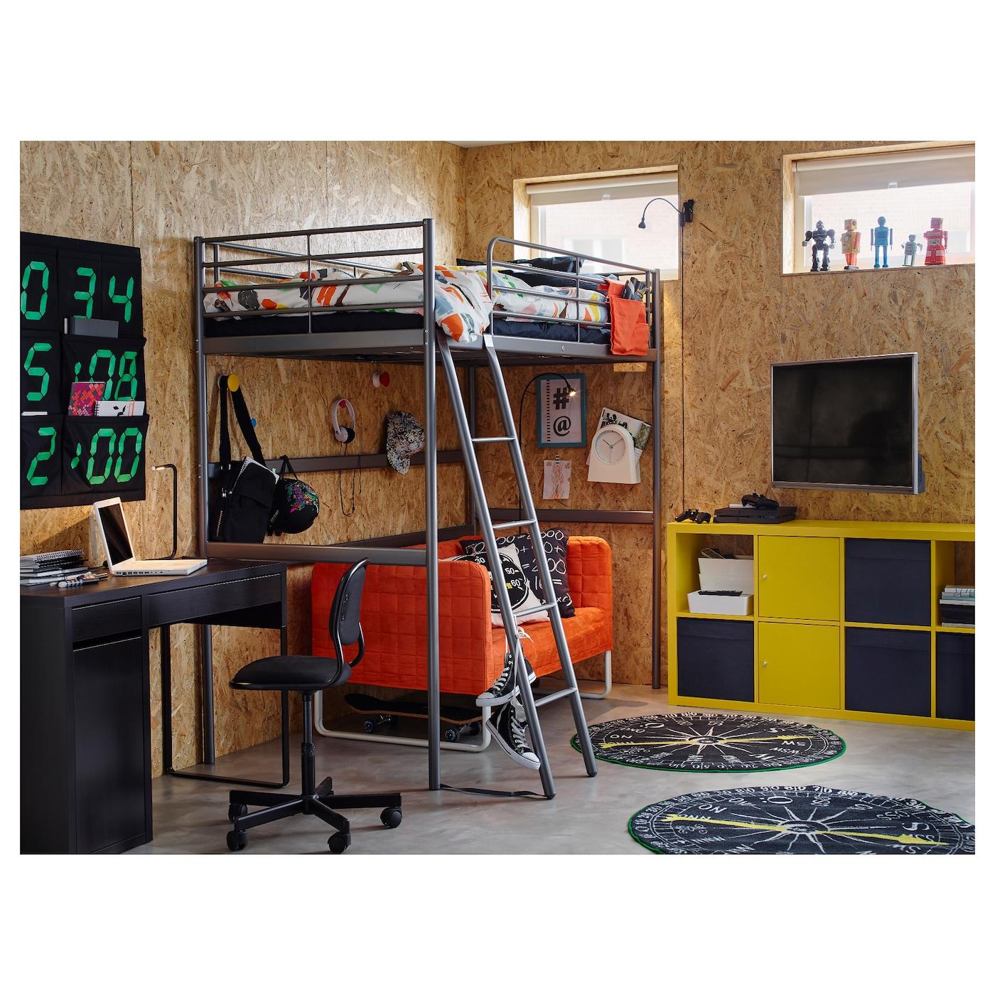 Svarta Loft Bed Frame Silver Colour 90 X 200 Cm Ikea