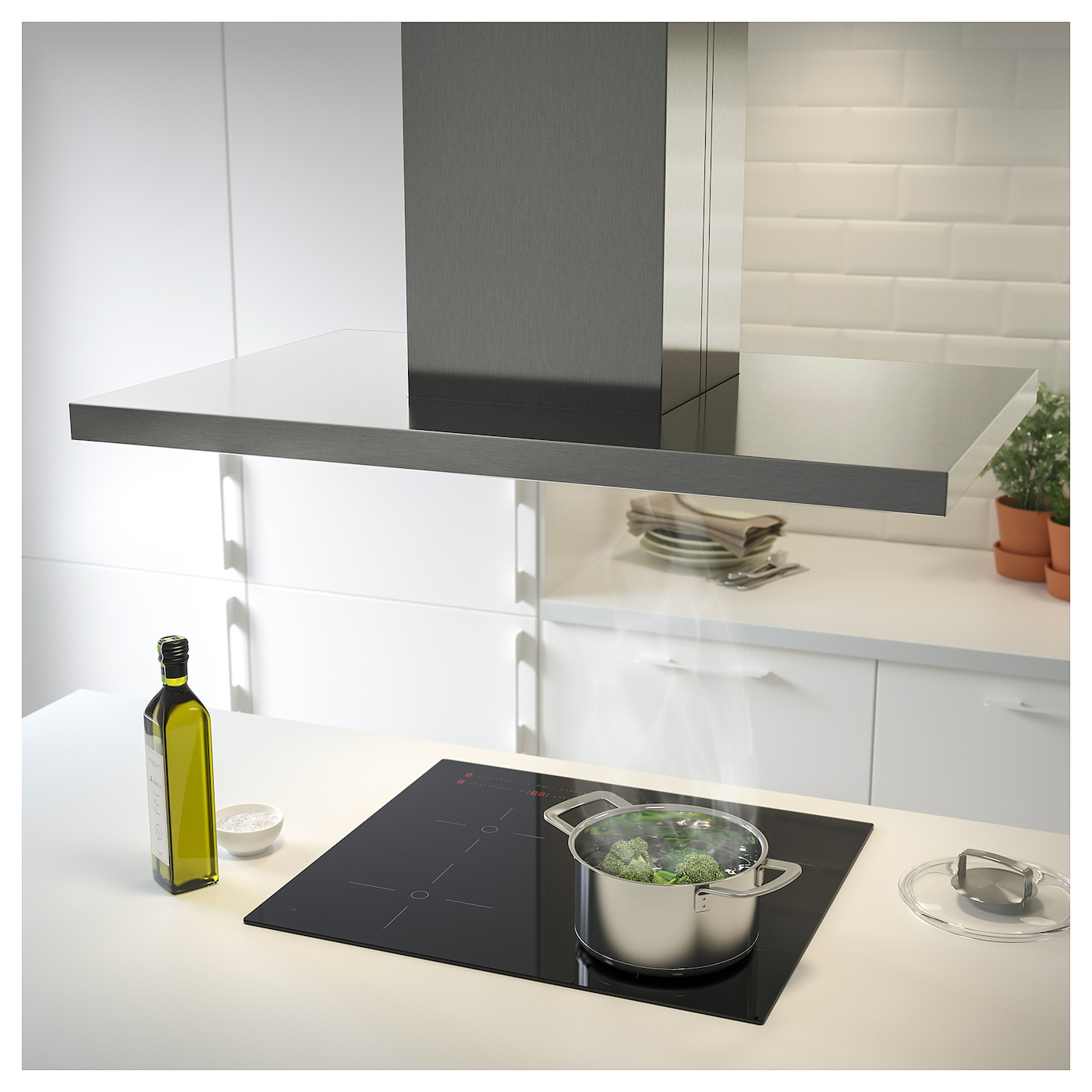 IKEA SVÄVANDE ceiling-mounted extractor hood Control panel placed at front for easy access and use.