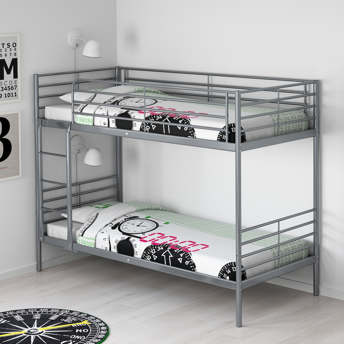 Picture of: Svarta Silver Colour Bunk Bed Frame 90×200 Cm Ikea