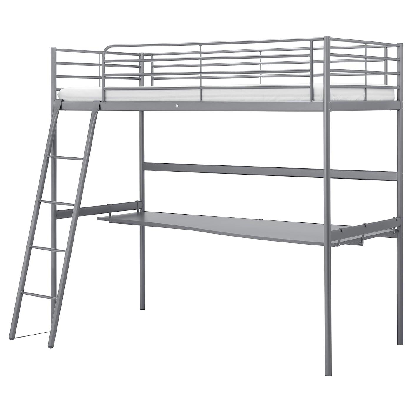 Picture of: Svarta Silver Colour Loft Bed With Desk Top 90×200 Cm Ikea