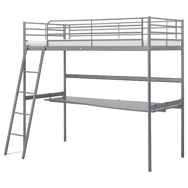 Svarta Silver Colour Loft Bed With Desk Top 90x200 Cm Ikea