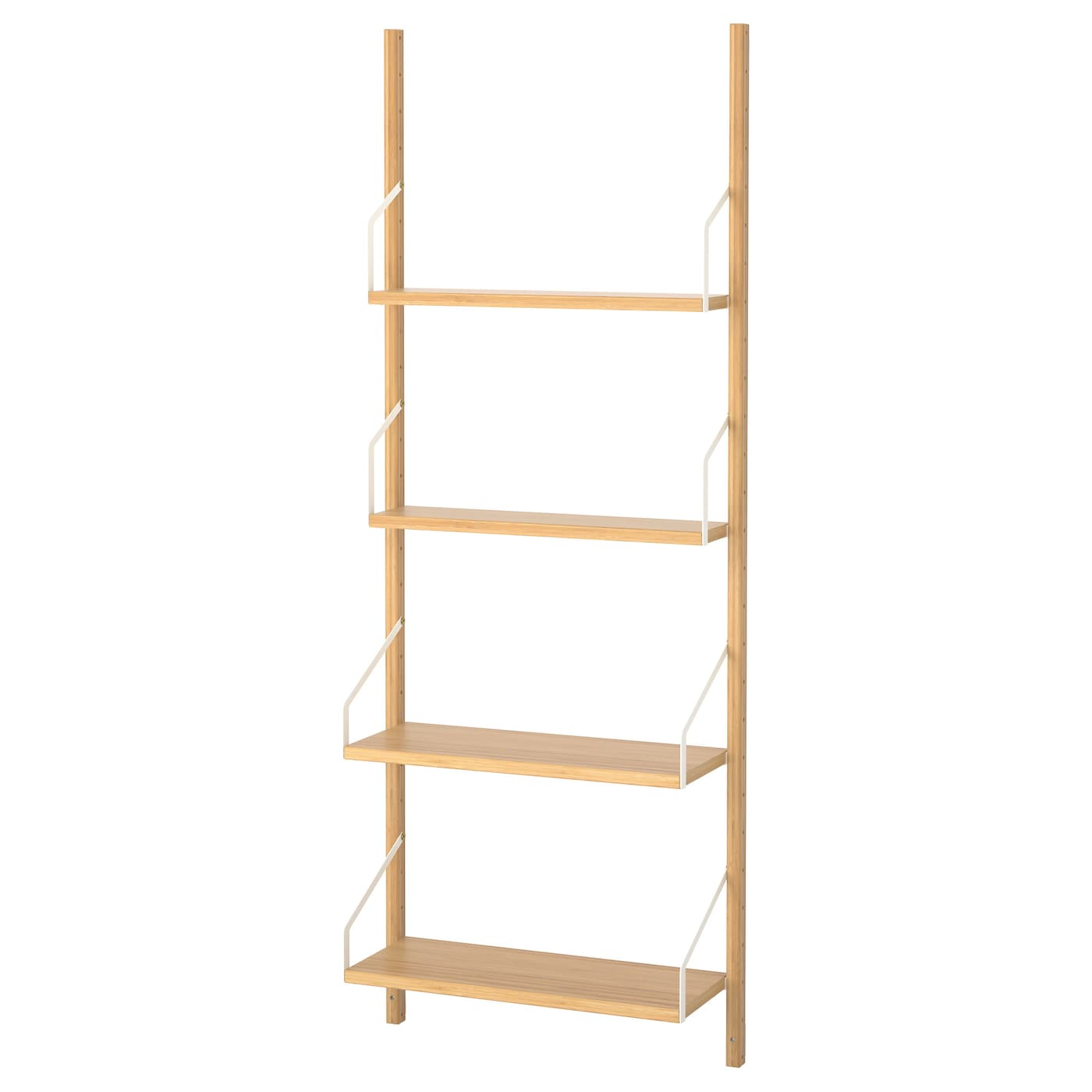 Svaln s wall mounted shelf combination bamboo 66x25x176 cm Wall mounted bookcase shelves