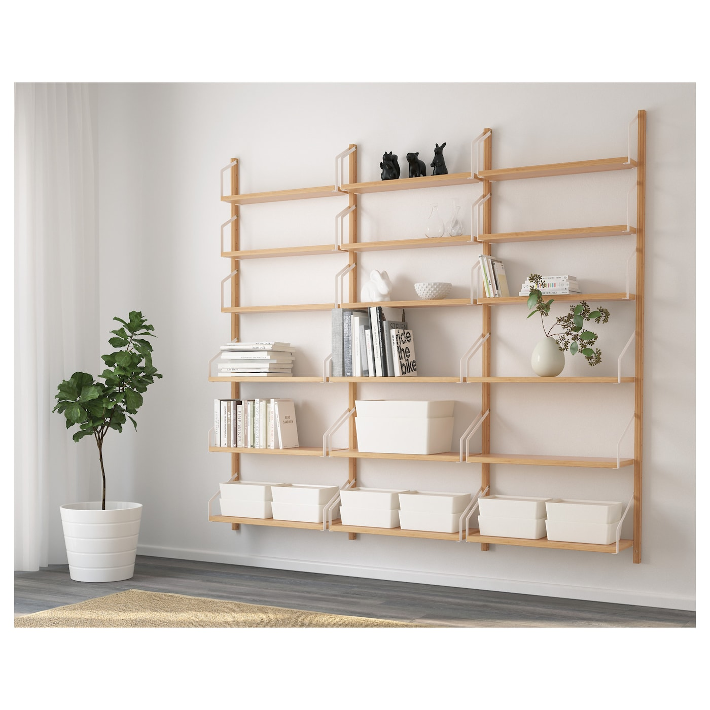 wall shelving units svaln 196 s wall mounted shelf combination bamboo 193 x 25 x 28105