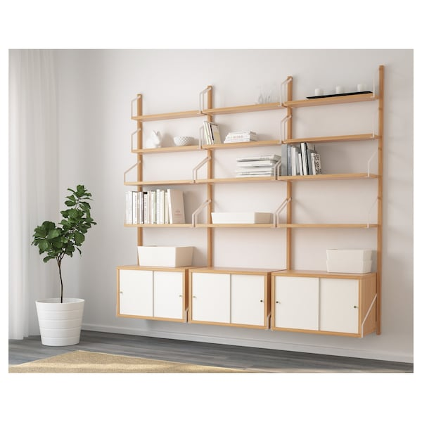 SVALNÄS Wall-mounted storage combination, bamboo/white, 193x35x176 cm