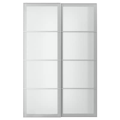 SVARTISDAL Pair of sliding doors, white paper effect, 150x236 cm