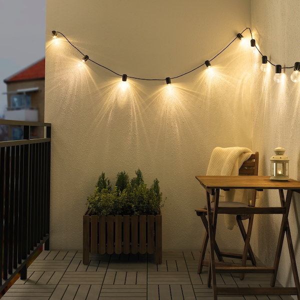 SVARTRÅ LED lighting chain with 12 lights, black/outdoor