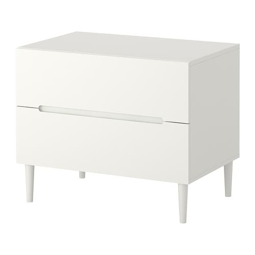 SVEIO Chest of 2 drawers IKEA Drawers with integrated damper that catches the running drawers so that they close slowly, silently and softly.