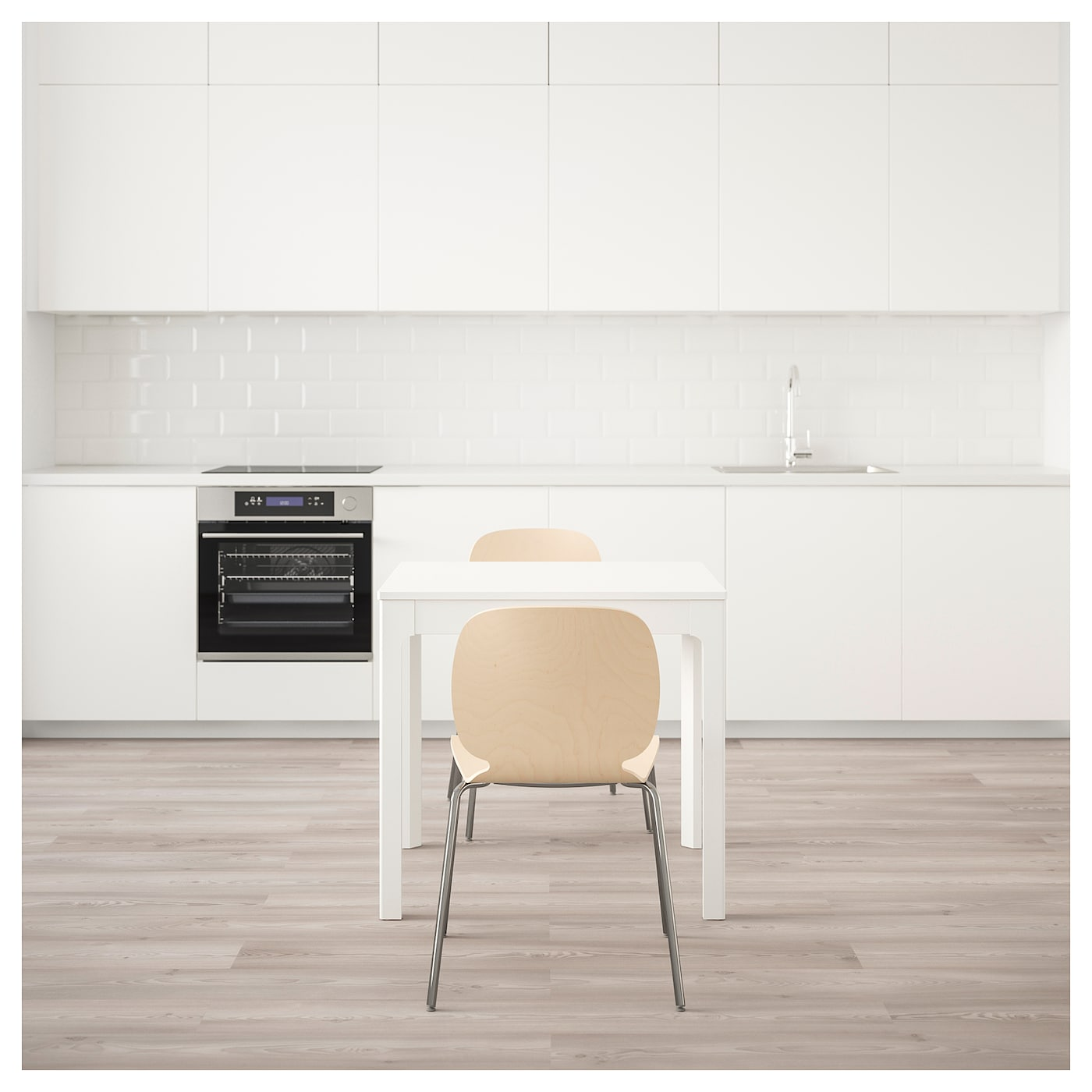 IKEA SVENBERTIL/EKEDALEN table and 2 chairs Can be easily extended by one person.