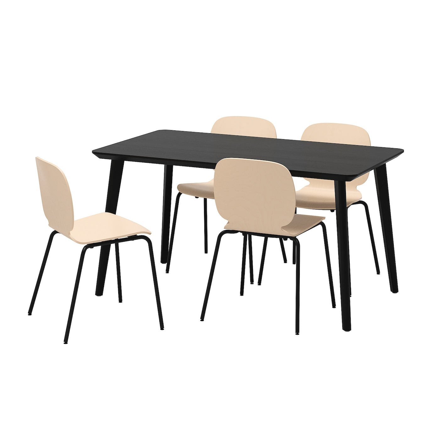 IKEA SVENBERTIL/LISABO table and 4 chairs Easy to assemble as each leg has only one fitting.