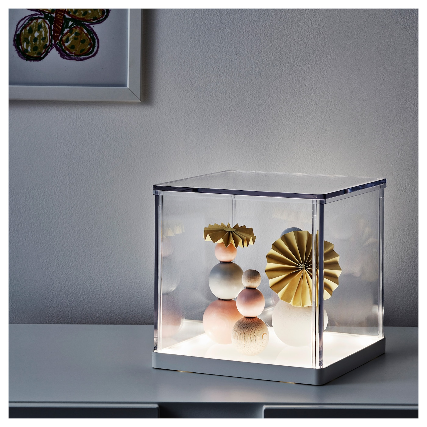 Synas led lighting box transparent 24x24x24 cm ikea for Leuchtkasten ikea