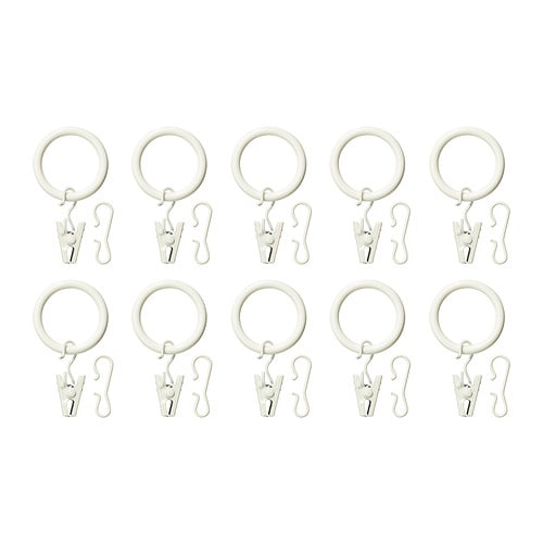 syrlig curtain ring with clip and hook white ikea. Black Bedroom Furniture Sets. Home Design Ideas