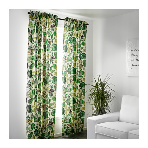 Syssan curtains 1 pair white green 145x300 cm ikea for Linen curtains ikea