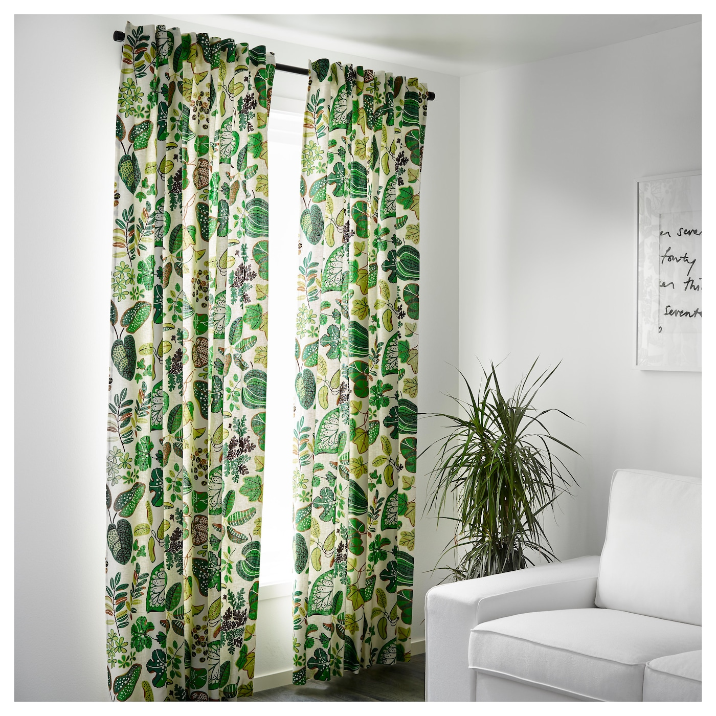Kitchen Unit Curtains: SYSSAN Curtains, 1 Pair White/green 145x300 Cm