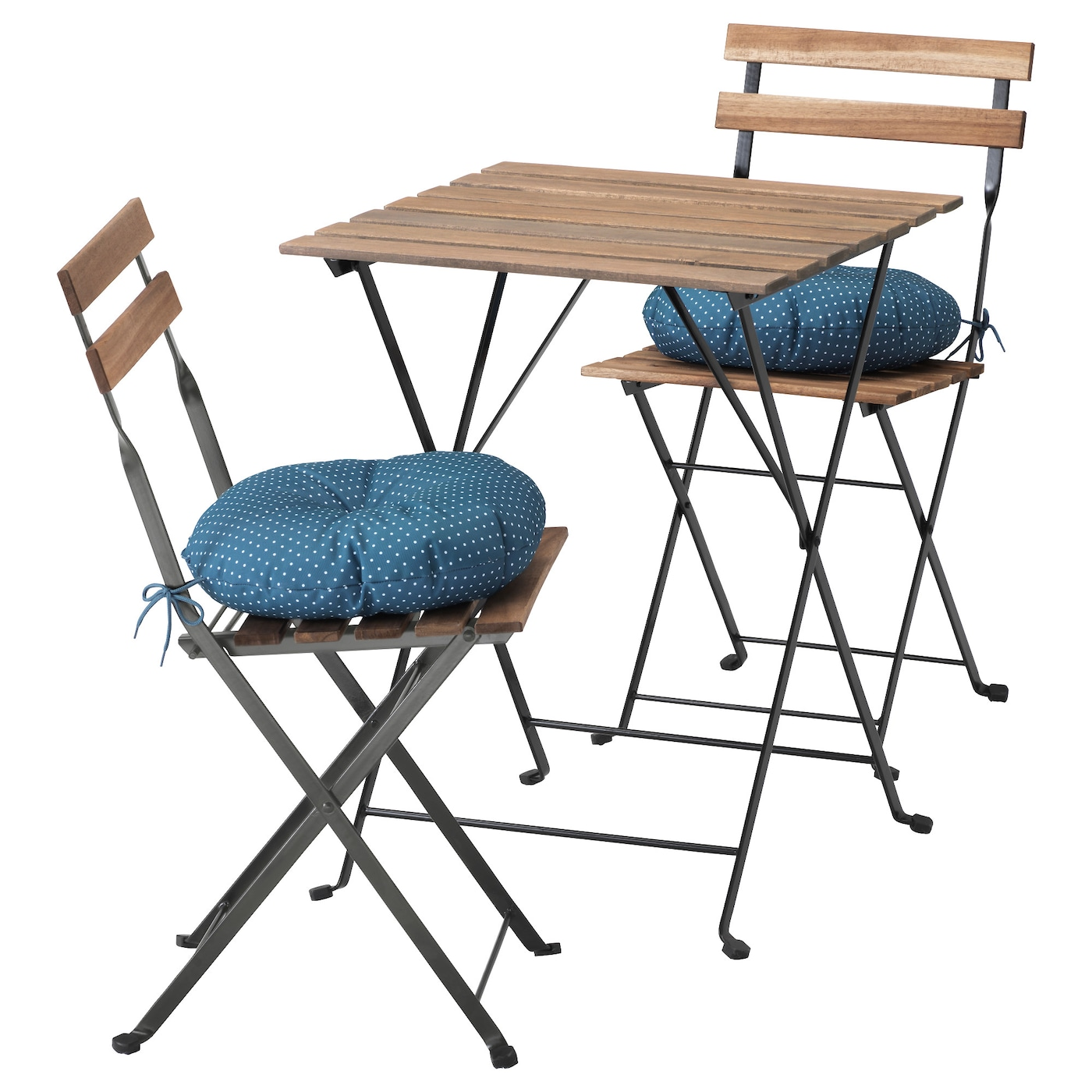 t rn table 2 chairs outdoor black brown stained ytter n blue ikea. Black Bedroom Furniture Sets. Home Design Ideas