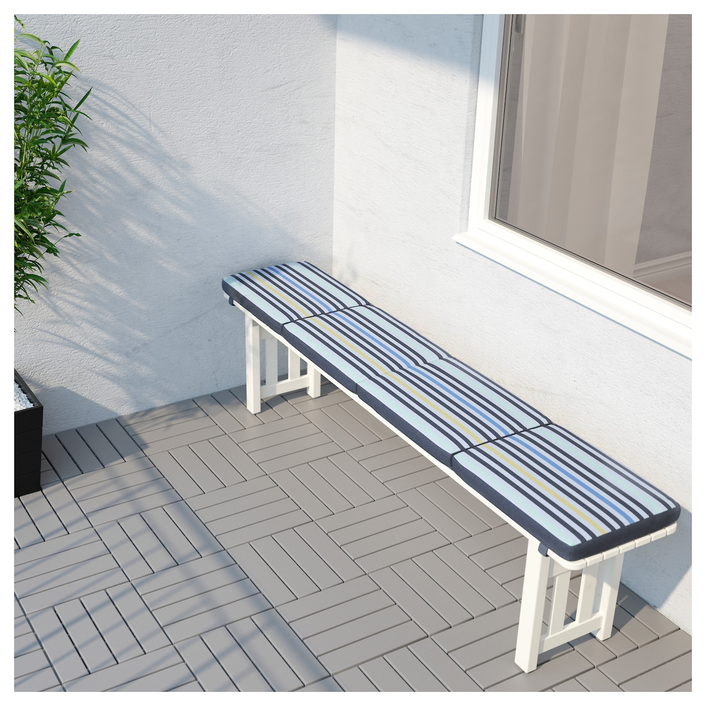 IKEA TÅSINGE bench cushion, outdoor Elastic straps keep the cushion firmly in place on the bench.