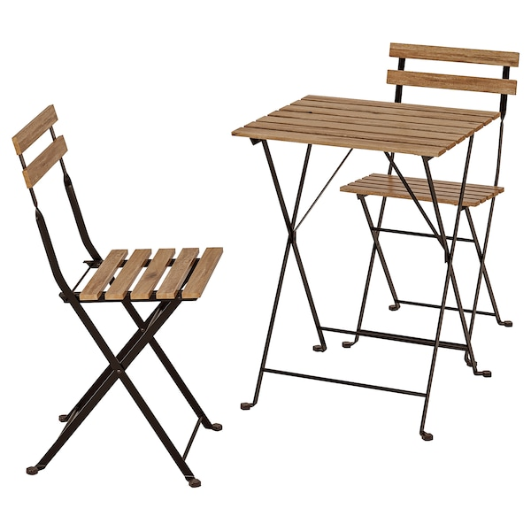 Tarno Table 2 Chairs Outdoor Black Acacia Steel Grey Brown