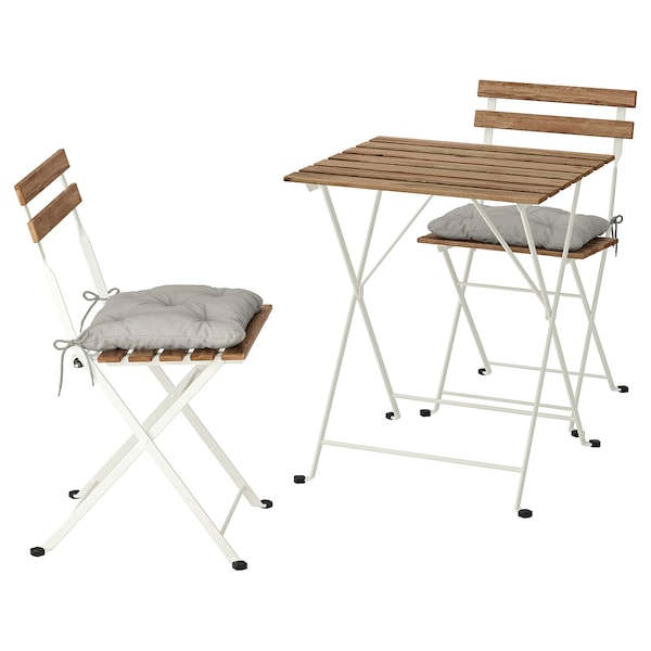 TÄRNÖ Table+2 chairs, outdoor, white/light brown stained/Kuddarna grey