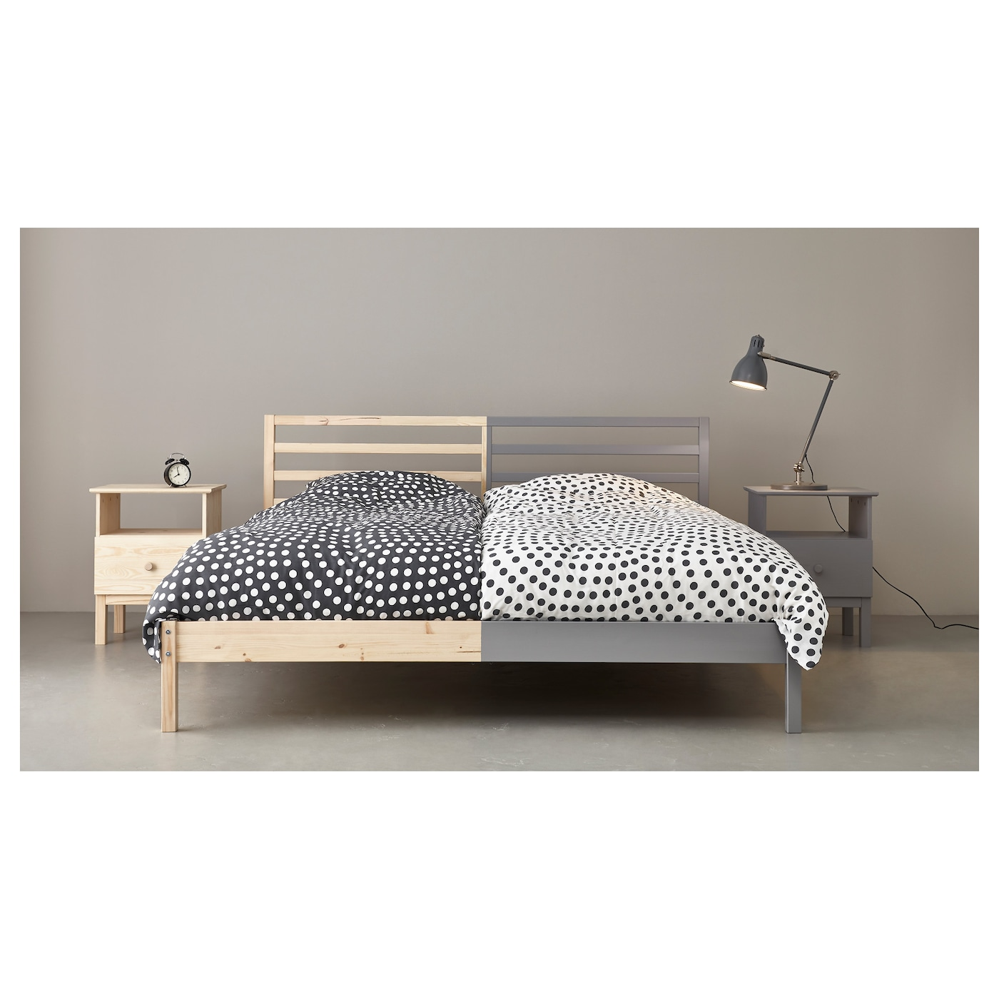 IKEA TARVA bed frame Made of solid wood, which is a hardwearing and warm natural material.