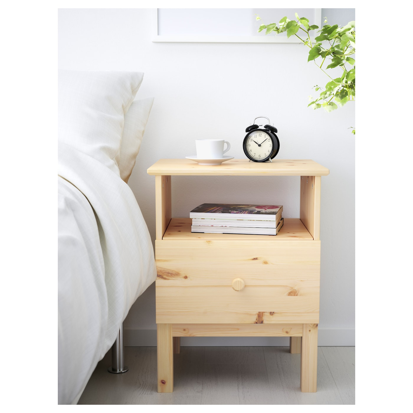 IKEA TARVA bedside table Made of solid wood, which is a hardwearing and  warm natural