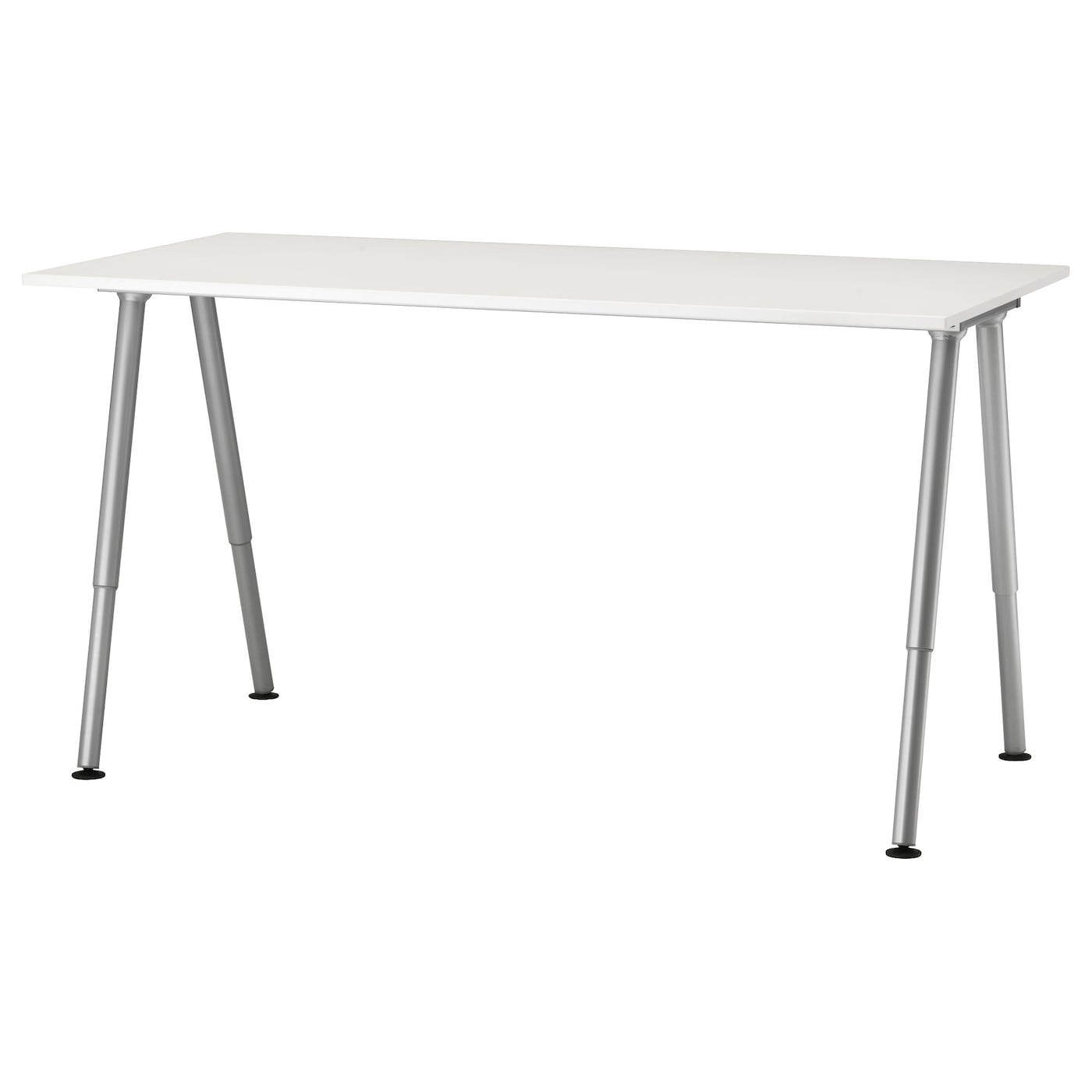 Thyge desk white silver colour 160x80 cm ikea - Glass office desk ikea ...