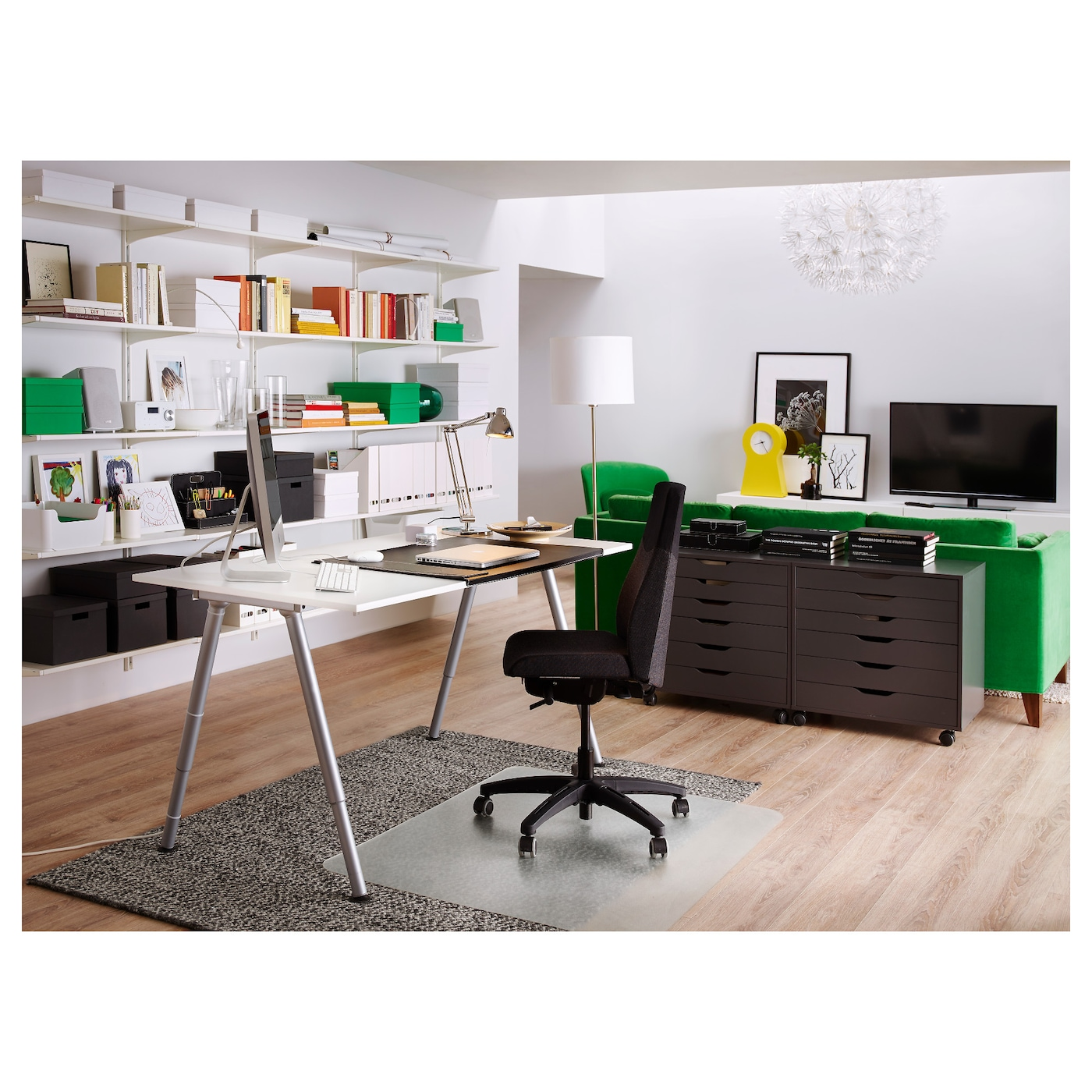 thyge desk white silver colour 160x80 cm ikea. Black Bedroom Furniture Sets. Home Design Ideas