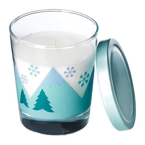 TIMGLAS Scented candle in glass IKEA Easy to extinguish the candle by putting on the lid; that keeps the scent inside too.