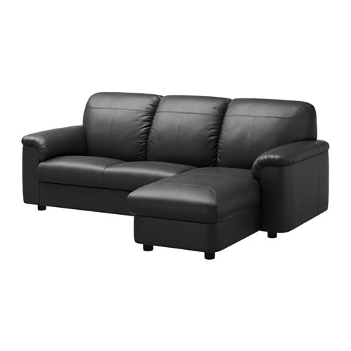 Timsfors two seat sofa with chaise longue mjuk kimstad for Black chaise longue