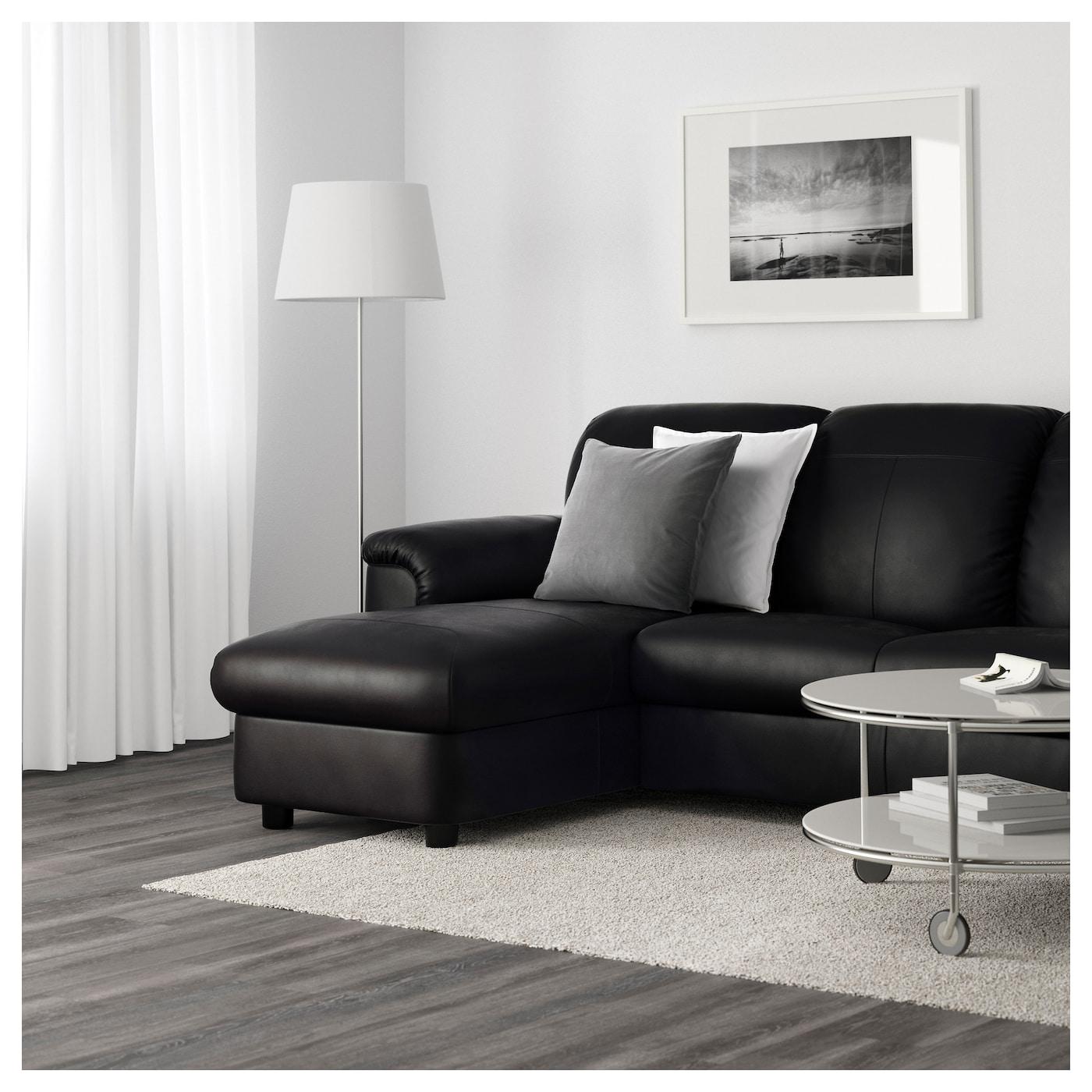 TIMSFORS Two seat sofa with chaise longue Mjuk kimstad black IKEA
