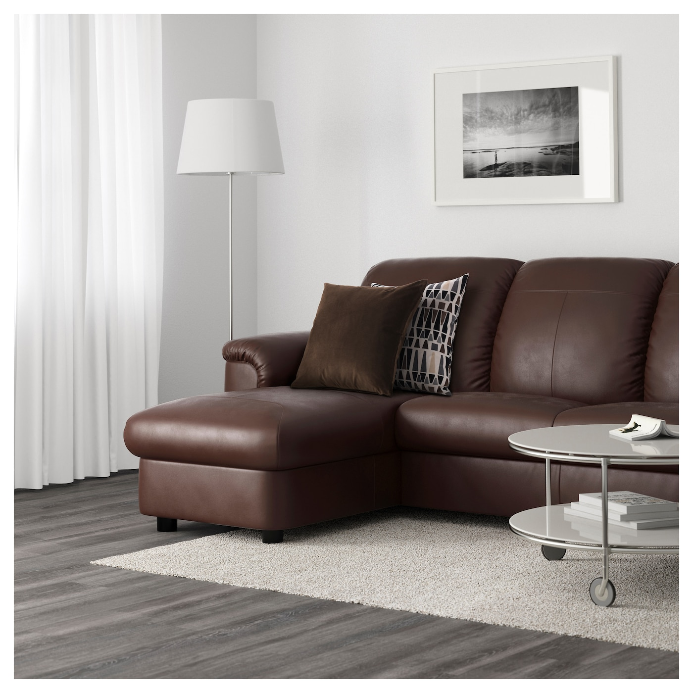 Timsfors two seat sofa with chaise longue mjuk kimstad for Brown leather chaise end sofa