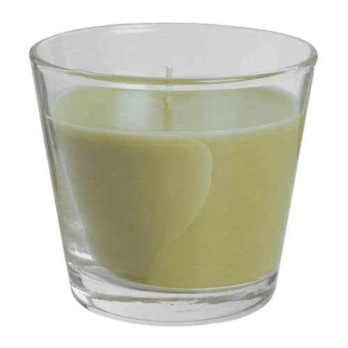 TINDRA Scented candle in glass IKEA When the candle has burnt itself out the glass cup can be used as a tealight holder.