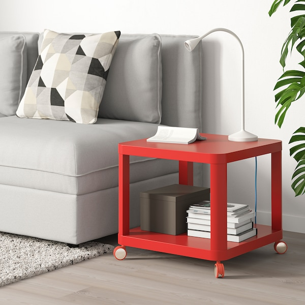 TINGBY Side table on castors, red, 50x50 cm